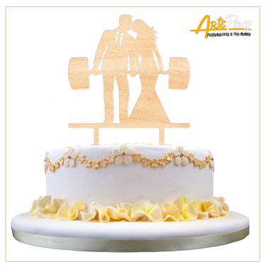 Cake Topper in legno coppia sposi fitness body building Cake Topper