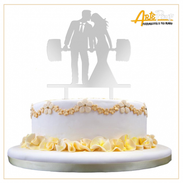Cake Topper in plexiglass specchiato coppia sposi fitness body building Cake Topper